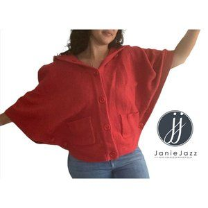 Beatrix Ost Cashmere Wool Red Hooded Short Cropped Cape Poncho Women's Size XL